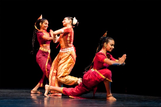 Thaji (front) performing at the Joyce Theatre, New York in 'Samhara'